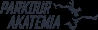 Parkour Akatermian logo. Tekstin oikealla puolella hahmo juoksee.