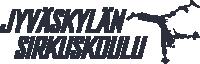 Jyväskylän Sirkuskoulun logo. Tekstin sinulla hahmo kärrynpyörässä-.